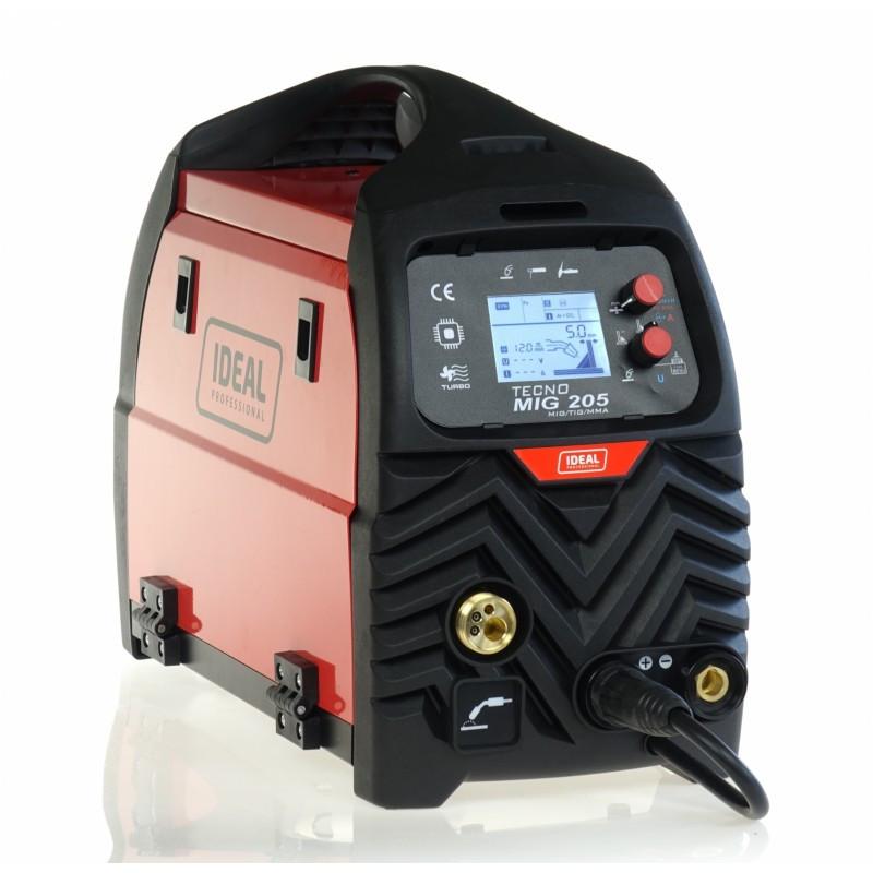 Inwertorowy półautomat spawalniczy TECNO MIG 205 LCD MIG/TIG/MMA Synergic Ideal