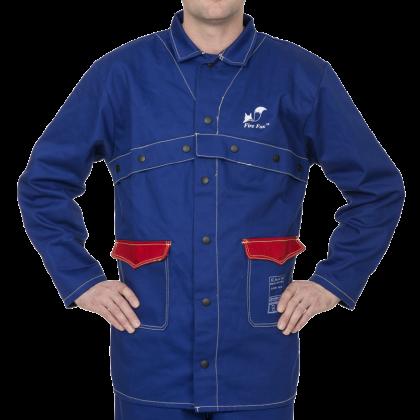 Bawełniana kurtka spawalnicza Fire Fox, niebieska, trudnopalna 33-2300  Weldas